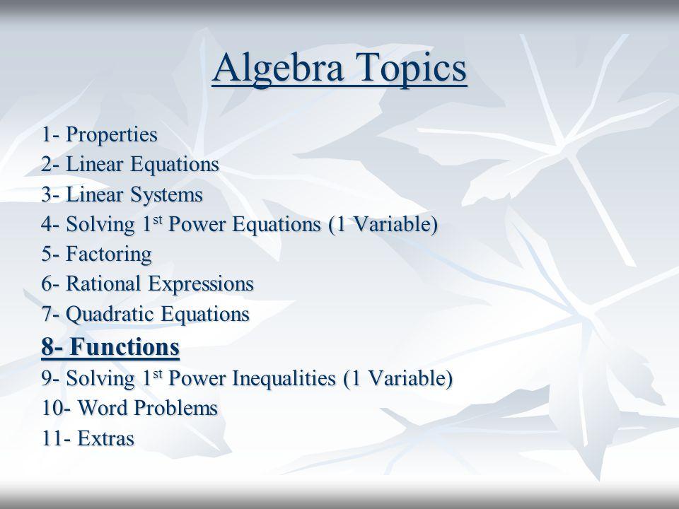 Algebra Topics 8- Functions 1- Properties 2- Linear Equations
