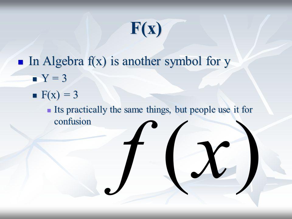 F(x) In Algebra f(x) is another symbol for y Y = 3 F(x) = 3