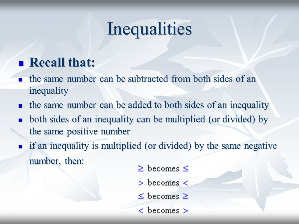 Inequalities Recall that: