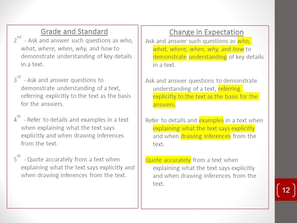 Grade and Standard Change in Expectation