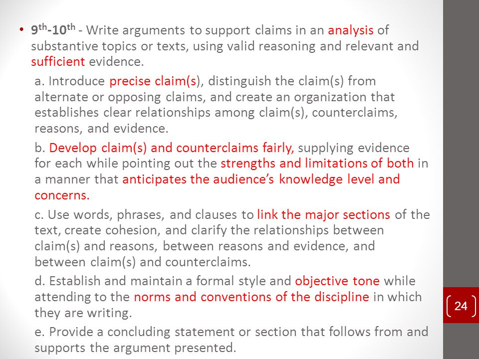 9th-10th - Write arguments to support claims in an analysis of substantive topics or texts, using valid reasoning and relevant and sufficient evidence.
