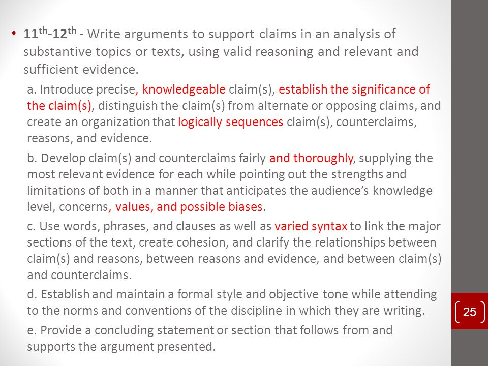 11th-12th - Write arguments to support claims in an analysis of substantive topics or texts, using valid reasoning and relevant and sufficient evidence.