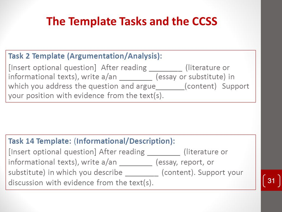 The Template Tasks and the CCSS