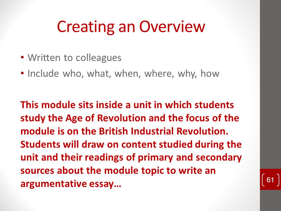 Creating an Overview Written to colleagues