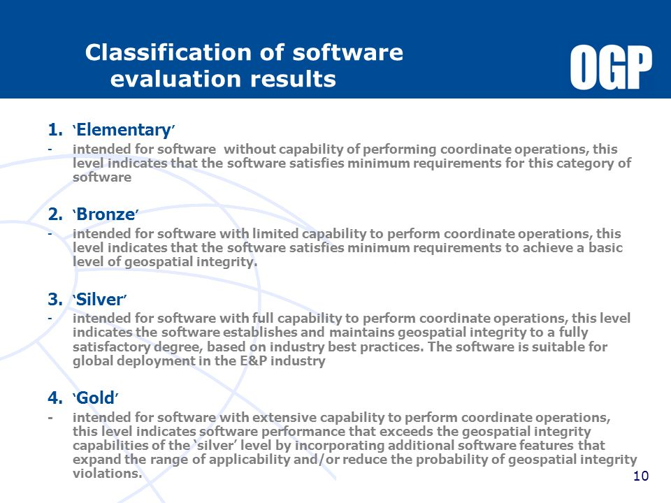 Classification of software evaluation results