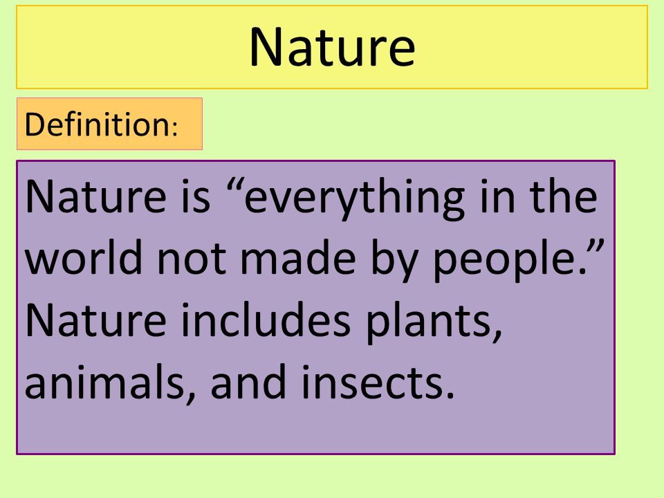 Nature Definition: Nature is everything in the world not made by people. Nature includes plants, animals, and insects.