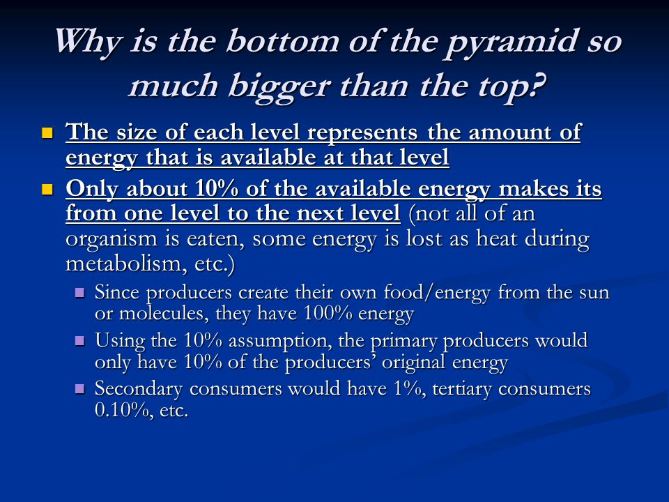 Why is the bottom of the pyramid so much bigger than the top