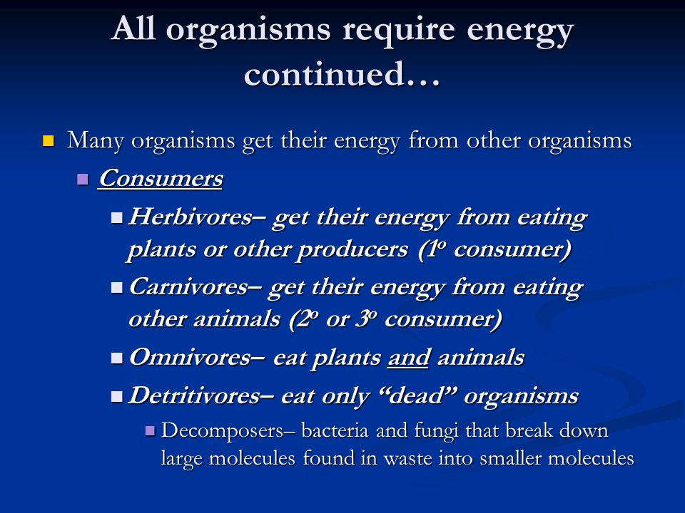 All organisms require energy continued…