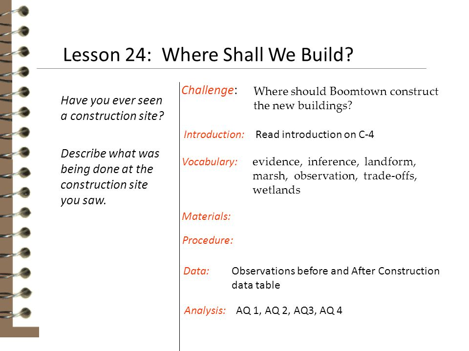 Lesson 24: Where Shall We Build