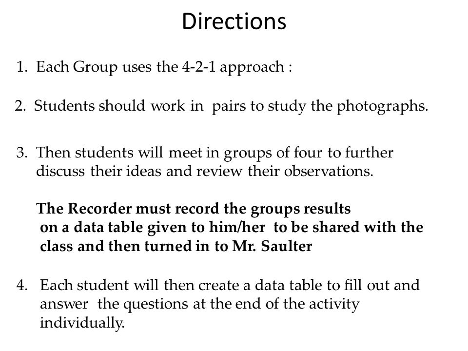 Directions 1. Each Group uses the 4-2-1 approach :