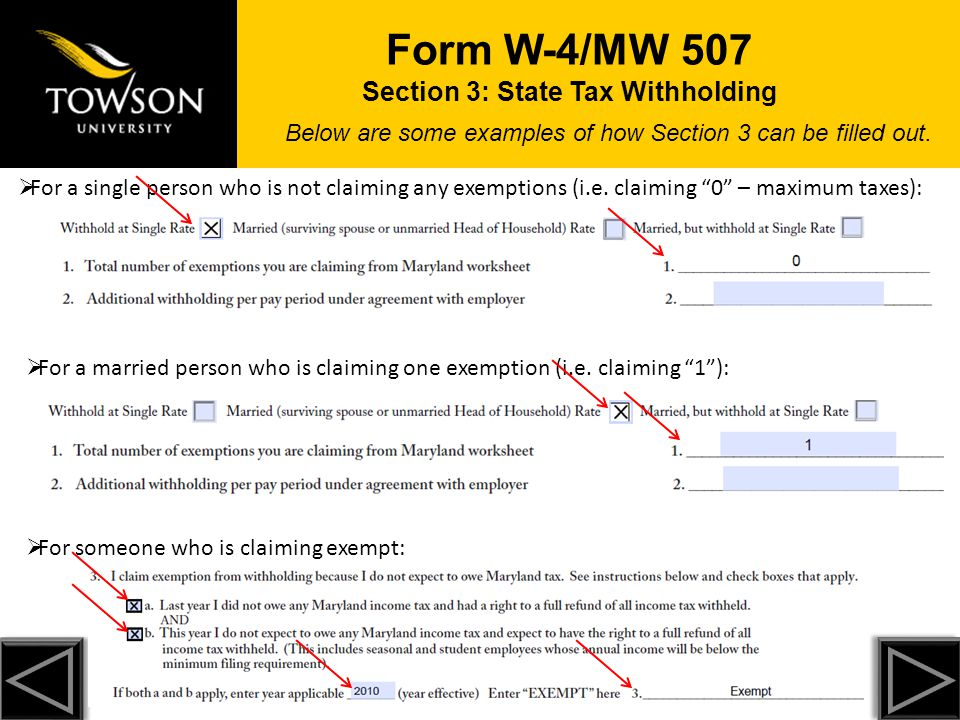 Form W-4/MW 507 Section 3: State Tax Withholding