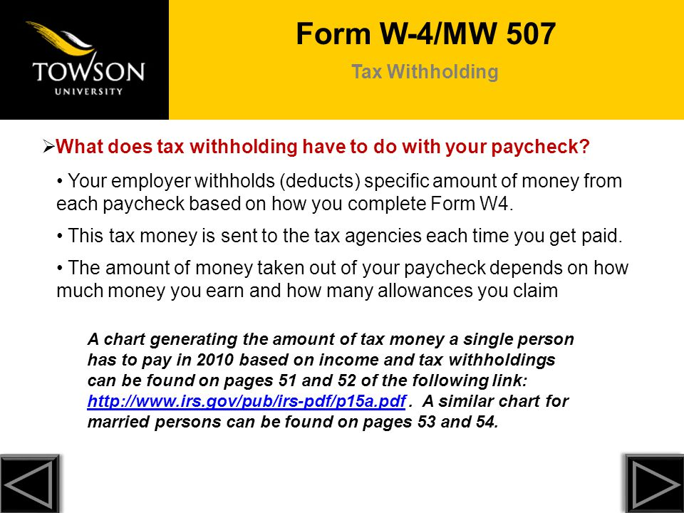 Form W-4/MW 507 Tax Withholding