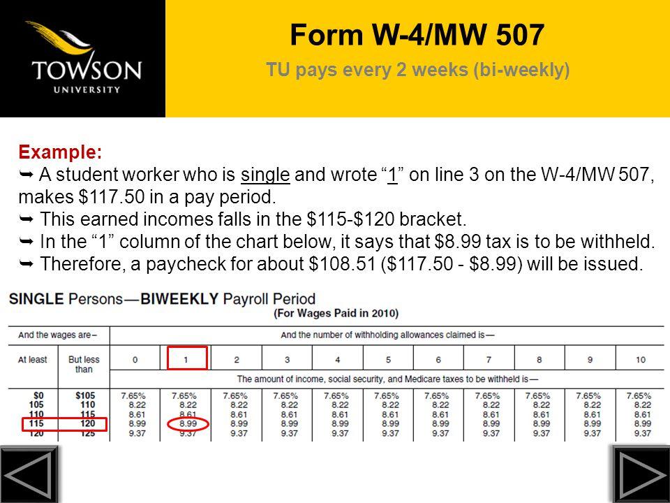 TU pays every 2 weeks (bi-weekly)