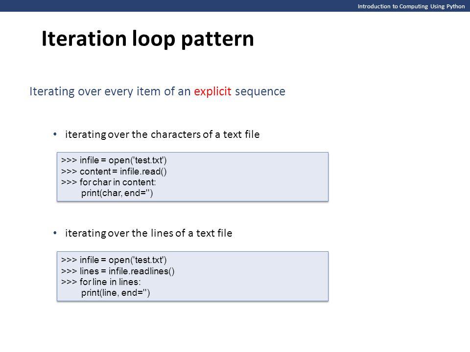 Iteration loop pattern
