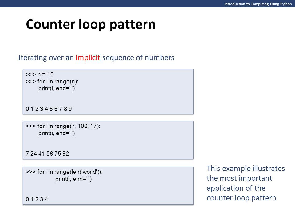 Counter loop pattern Iterating over an implicit sequence of numbers