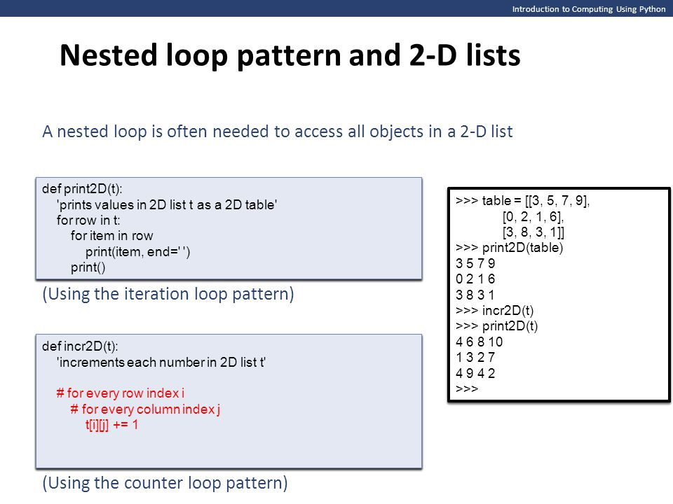 Nested loop pattern and 2-D lists