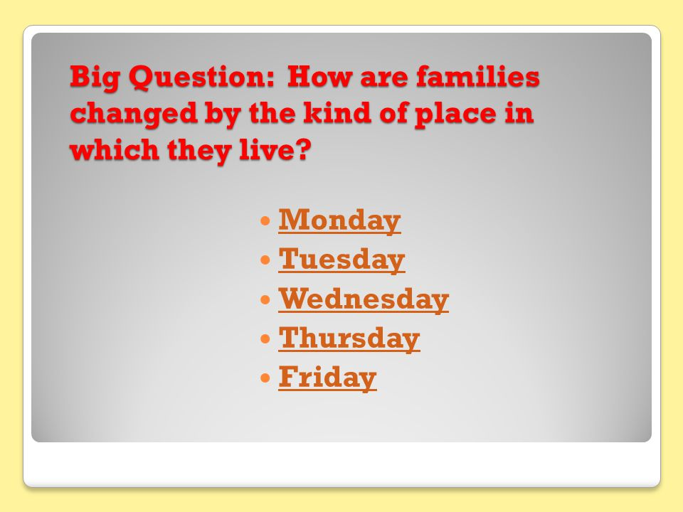 Big Question: How are families changed by the kind of place in which they live