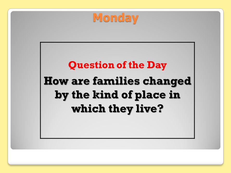 How are families changed by the kind of place in which they live