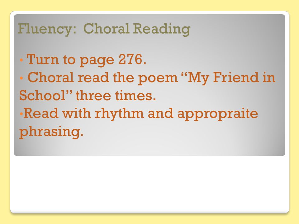 Fluency: Choral Reading