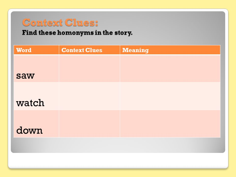 Context Clues: Find these homonyms in the story.
