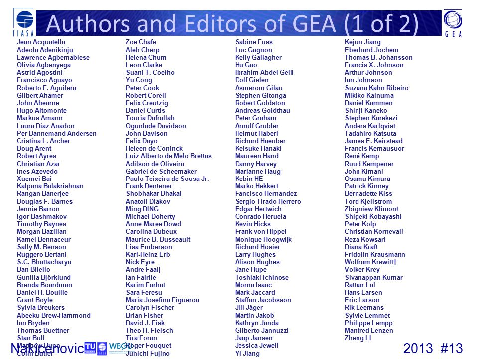Authors and Editors of GEA (1 of 2)
