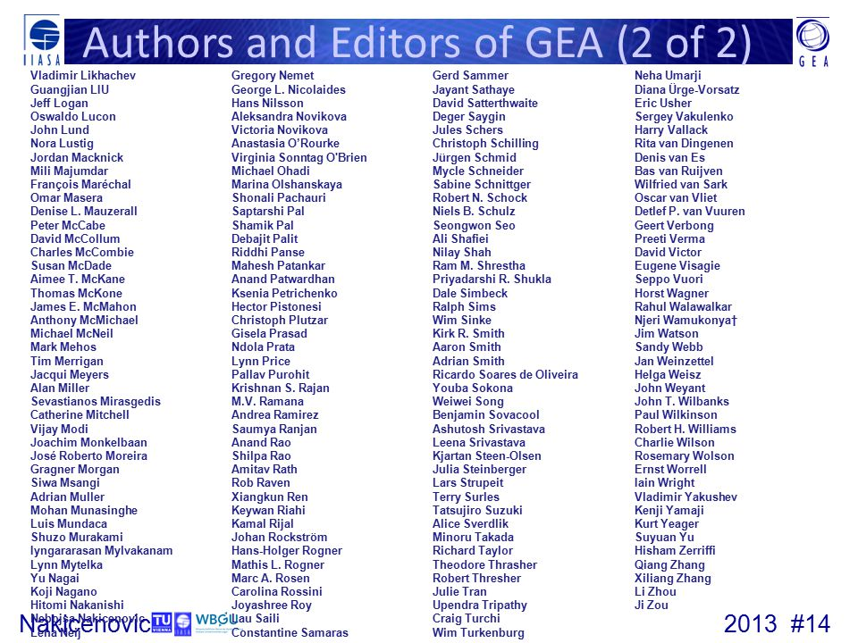 Authors and Editors of GEA (2 of 2)