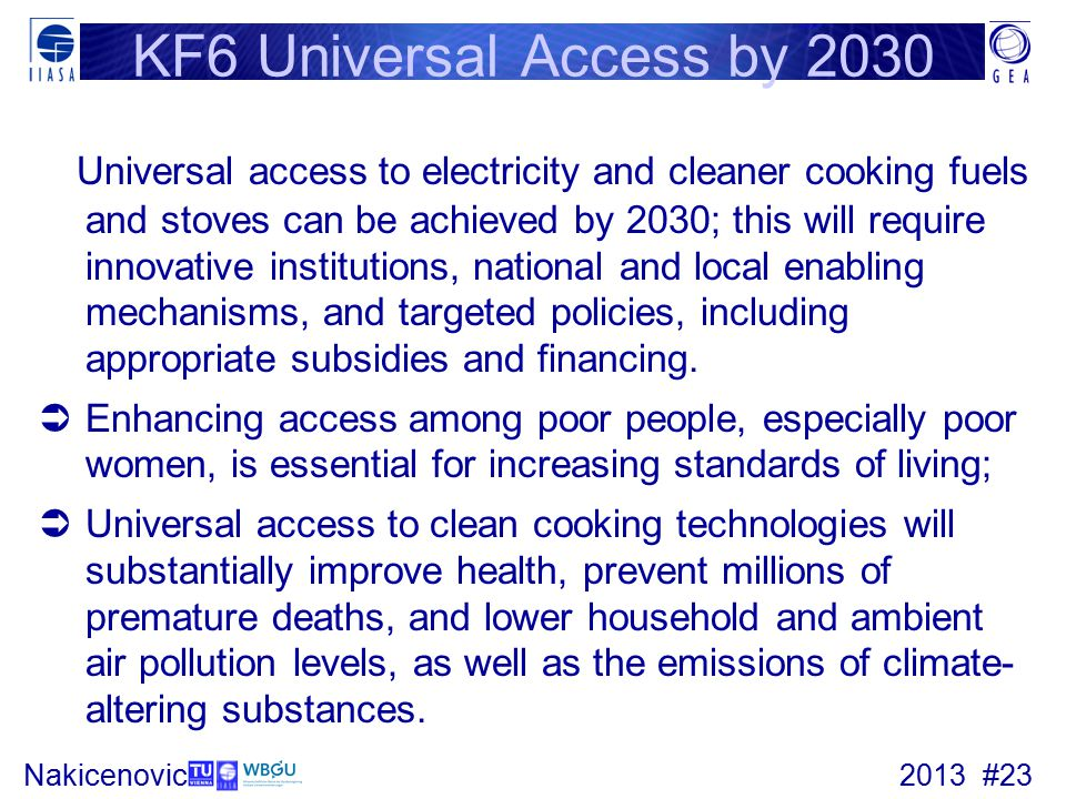 KF6 Universal Access by 2030