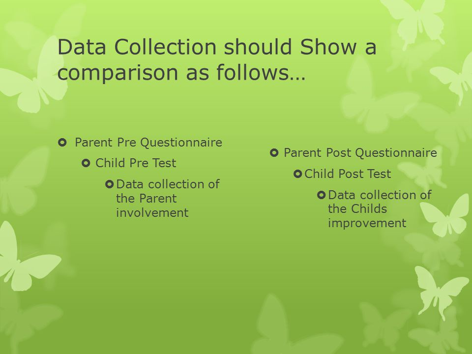 Data Collection should Show a comparison as follows…