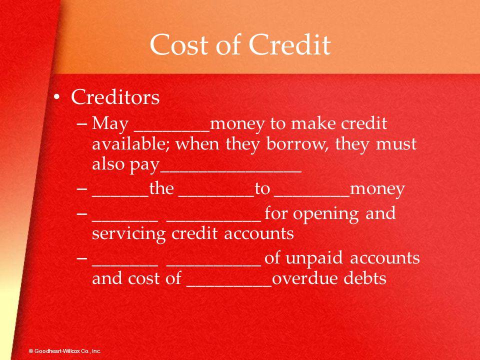 Cost of Credit Creditors