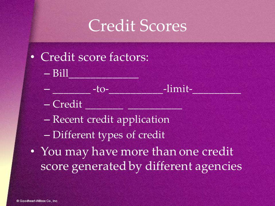 Credit Scores Credit score factors: