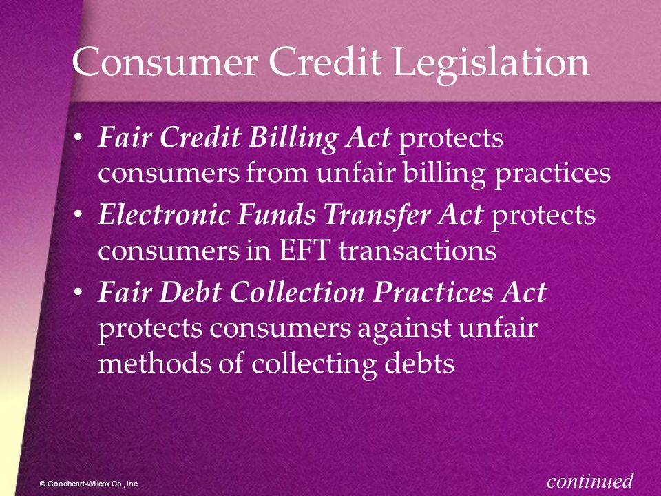 Consumer Credit Legislation