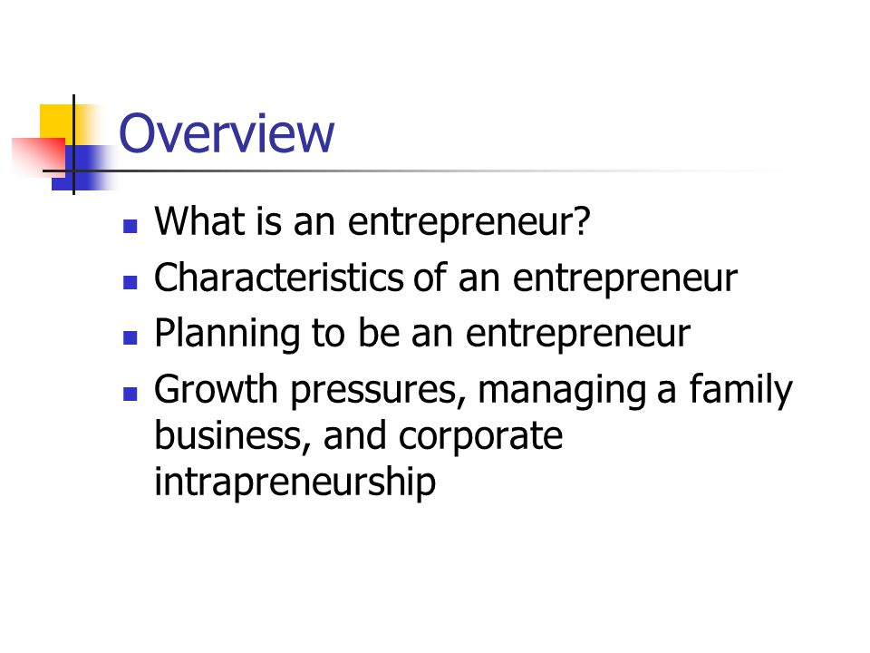 Overview What is an entrepreneur Characteristics of an entrepreneur