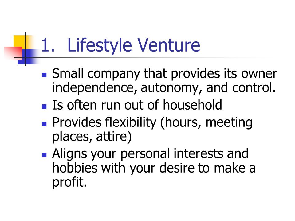 Lifestyle Venture Small company that provides its owner independence, autonomy, and control. Is often run out of household.