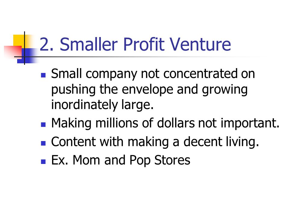 2. Smaller Profit Venture