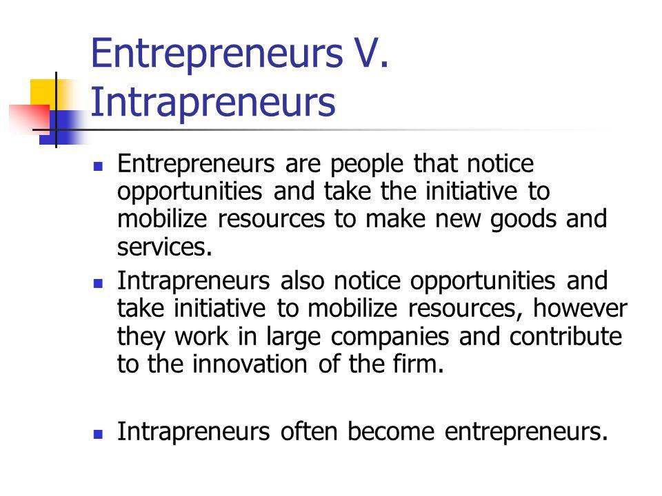 Entrepreneurs V. Intrapreneurs