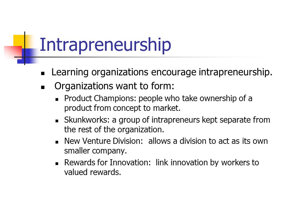 Intrapreneurship Learning organizations encourage intrapreneurship.