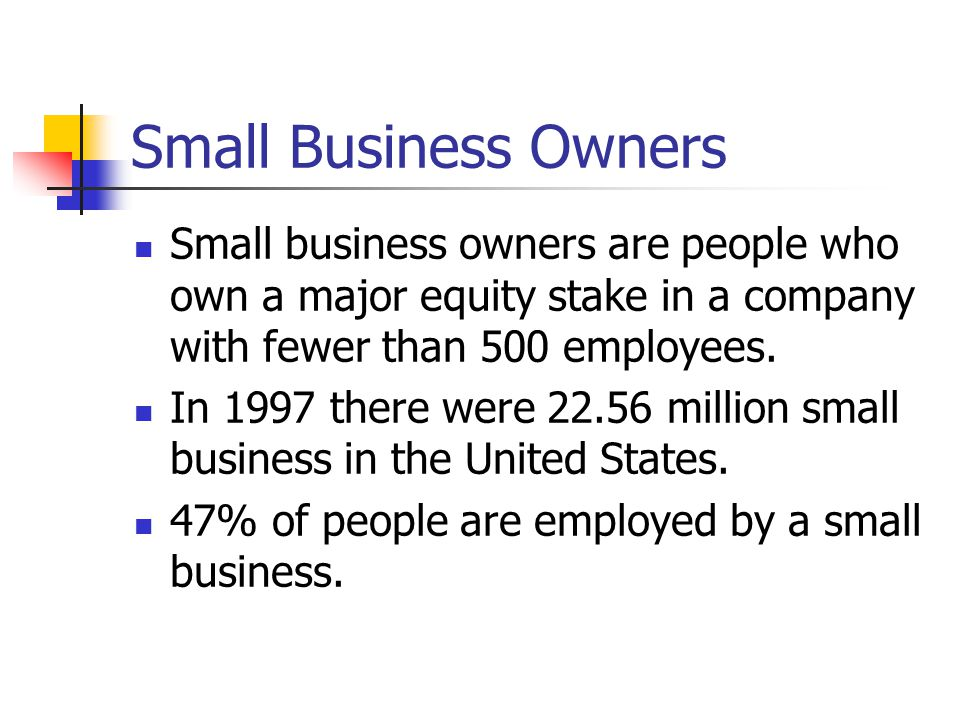 Small Business Owners Small business owners are people who own a major equity stake in a company with fewer than 500 employees.