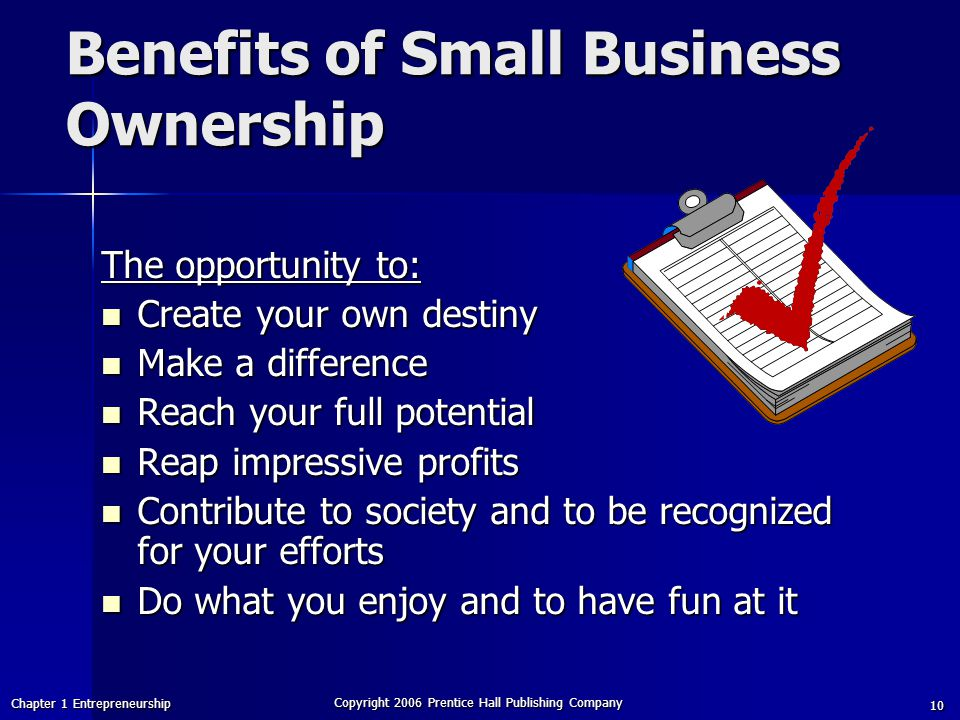 Benefits of Small Business Ownership