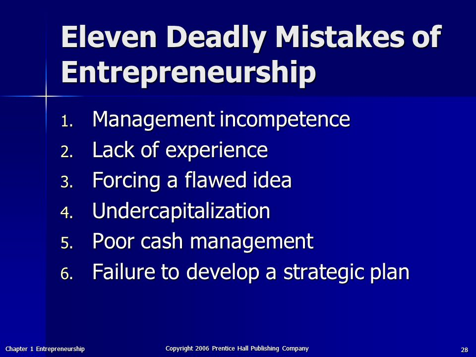 Eleven Deadly Mistakes of Entrepreneurship