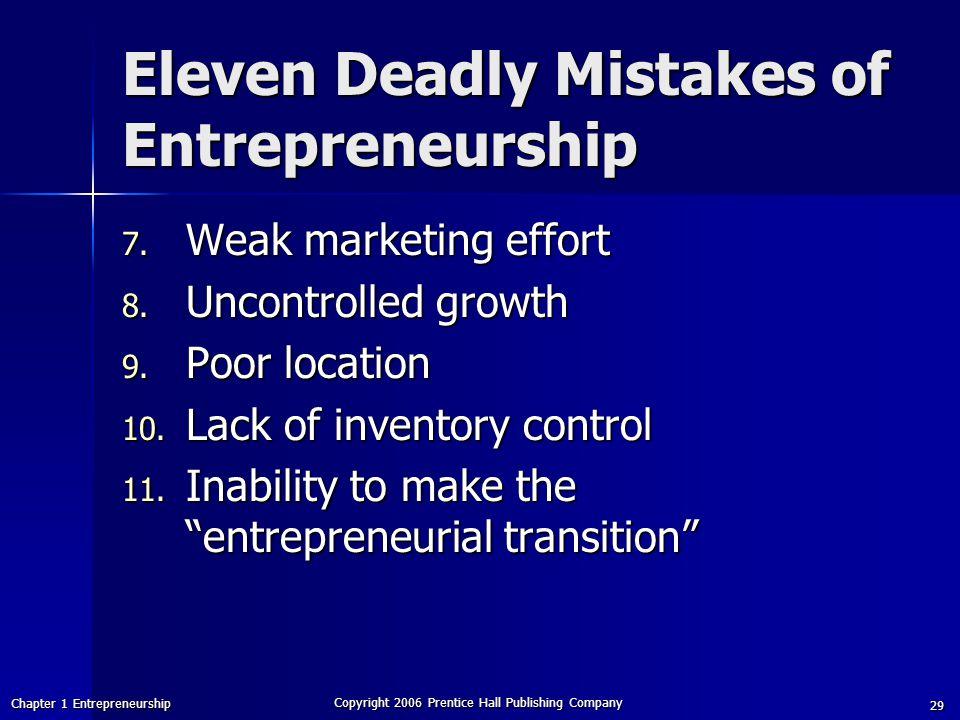 Eleven Deadly Mistakes of Entrepreneurship
