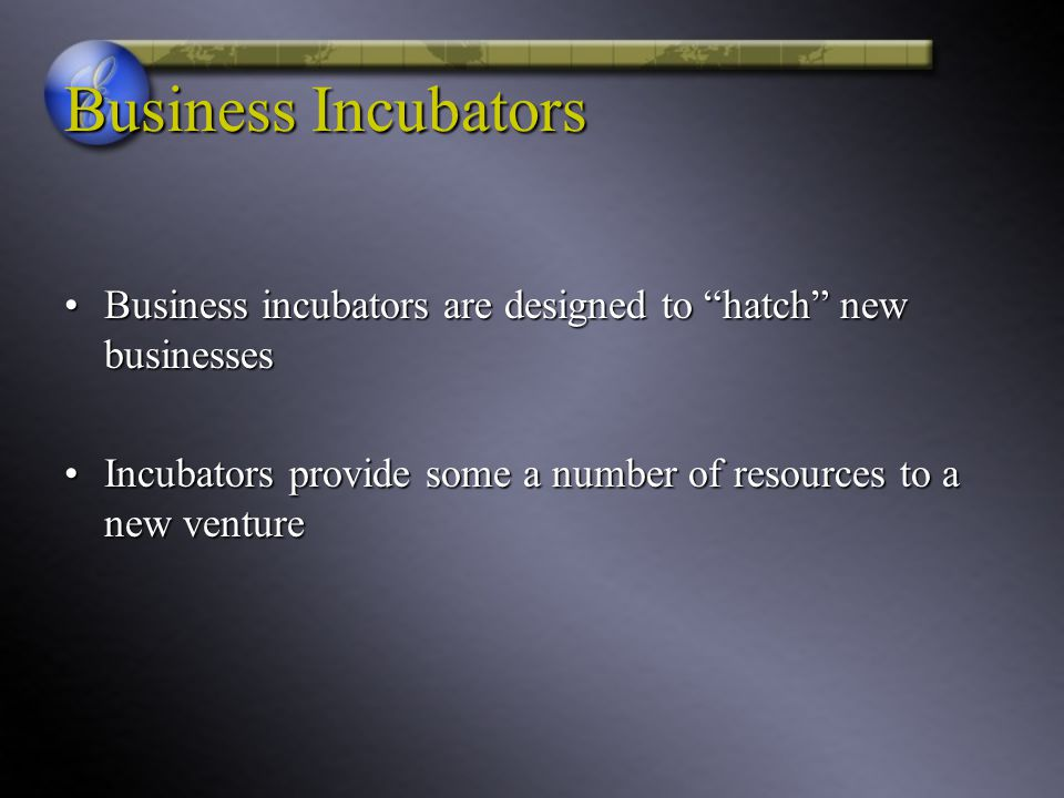 Business Incubators Business incubators are designed to hatch new businesses. Incubators provide some a number of resources to a new venture.