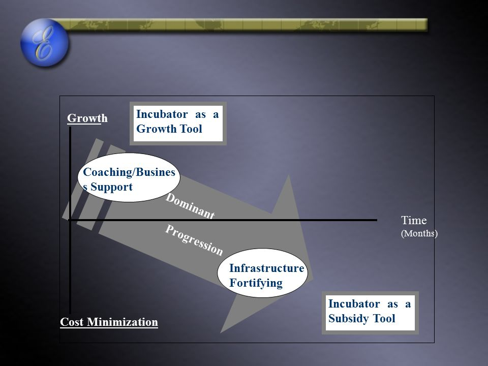 Dominant Progression. Time (Months) Growth. Cost Minimization. Infrastructure. Fortifying. Coaching/Business Support.