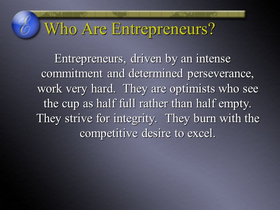 Who Are Entrepreneurs
