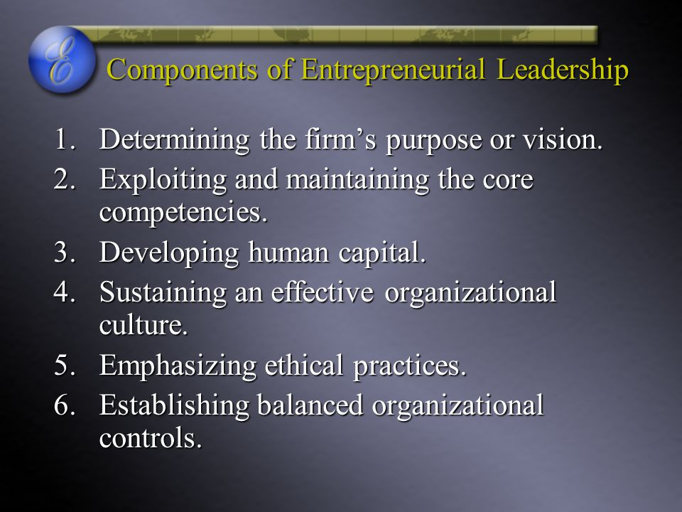 Components of Entrepreneurial Leadership
