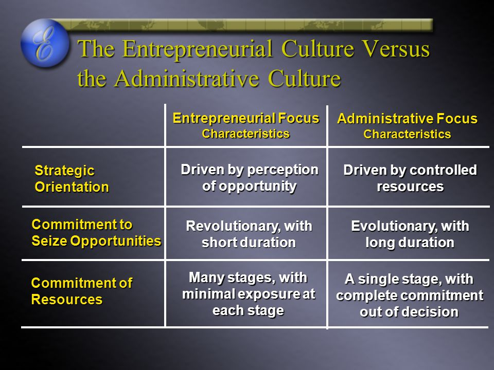 The Entrepreneurial Culture Versus the Administrative Culture