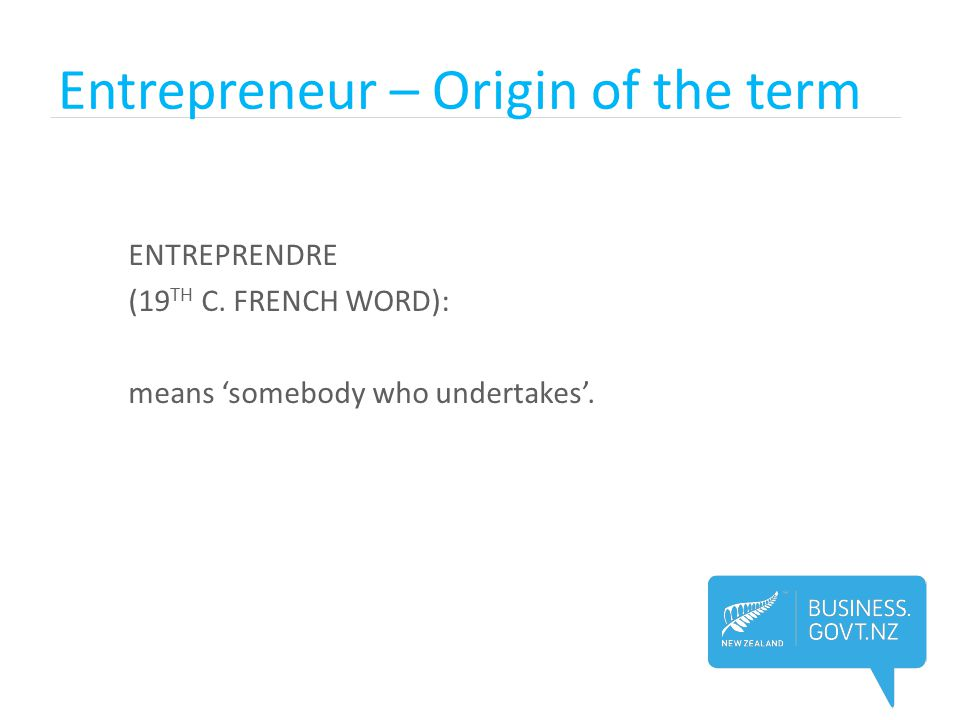 Entrepreneur – Origin of the term