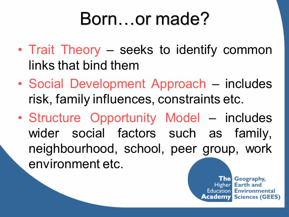 Born…or made Trait Theory – seeks to identify common links that bind them.