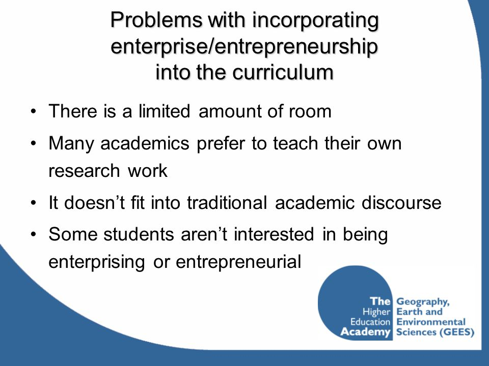 Problems with incorporating enterprise/entrepreneurship into the curriculum