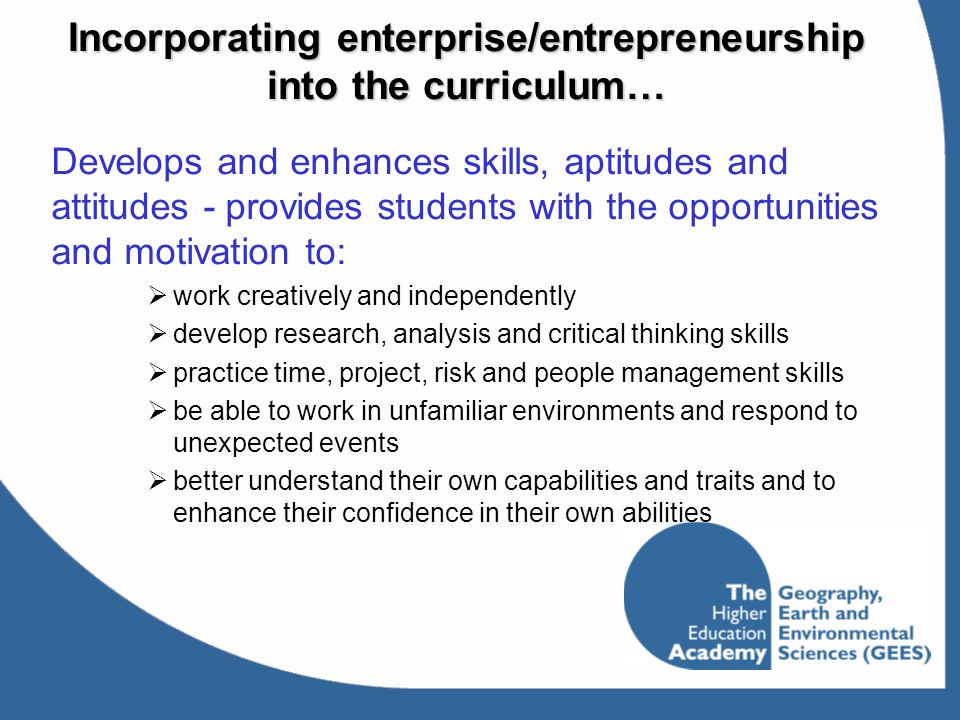 Incorporating enterprise/entrepreneurship into the curriculum…