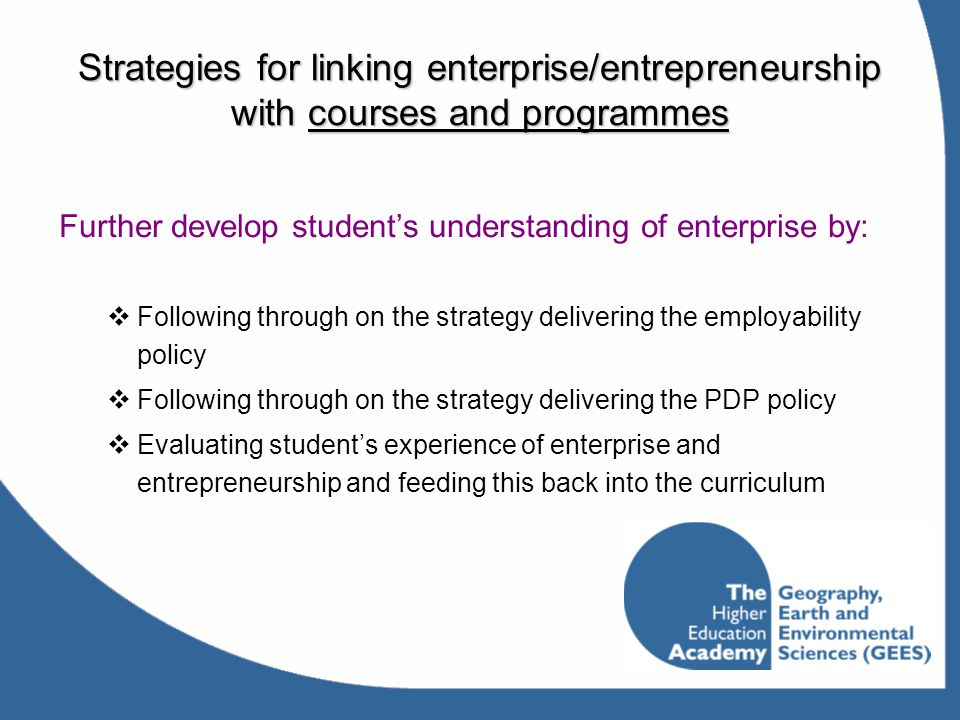 Strategies for linking enterprise/entrepreneurship with courses and programmes